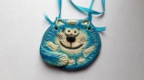 Голубой кот из соленого теста